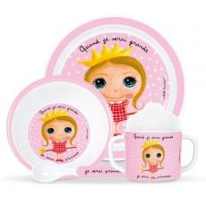 Coffret vaisselle mélamine Princesse NEW - Quand je serai grand