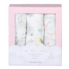 Set de 3 langes (gris/blanc/rose) Les Petits Dodos - Moulin Roty