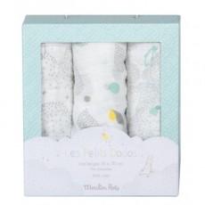 Set de 3 langes (gris/blanc/bleu) Les Petits Dodos - Moulin Roty
