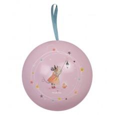 Boule de Noël rose en métal 10cm Il était une fois - Moulin Roty