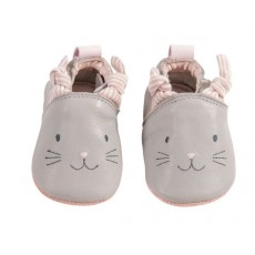 Chaussons cuir gris Les Petits Dodos - Moulin Roty