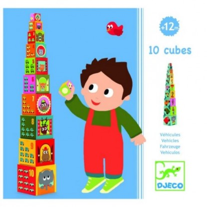 Cubes à empiler - Véhicules - Djeco
