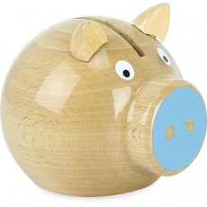 Tirelire cochon bois naturel - bleu - Vilac