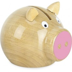 Tirelire cochon bois naturel - rose - Vilac