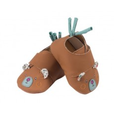 Chaussons cuir ours brun Les Jolis trop beaux - Moulin Roty