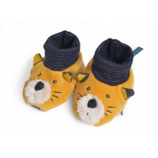 Chaussons chat moutarde Lulu Les Moustaches - Moulin Roty