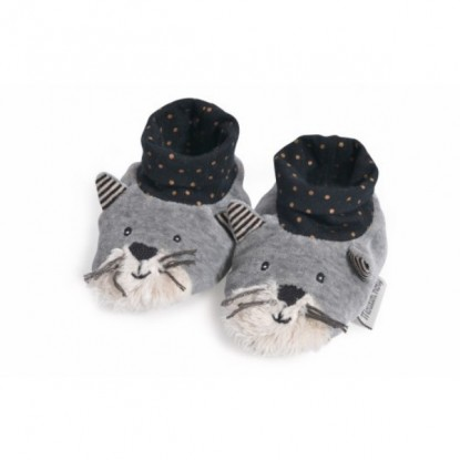 Chaussons chat gris clair Fernand Les Moustaches - Moulin Roty