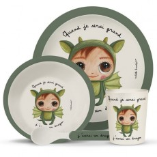Coffret vaisselle fibre de bambou - Dragon -Quand je serai grand(e) par Isabelle Kessedjan