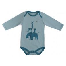 Babou Body jersey bleu imprimé animaux Sous mon Baobab - Moulin Roty