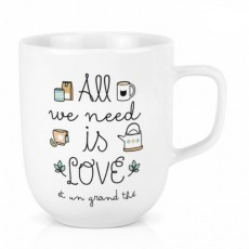 Mug Céramique XL - All we need is love et un grand café - Créa Bisontine