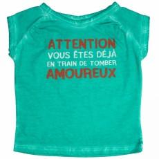 """Tee-shirt Fille """"Vous êtes déjà en train de tomber amoureux"""" vert - Bulle de BB"""