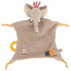 Doudou attache tétine éléphant - Les Papoum -  Moulin Roty