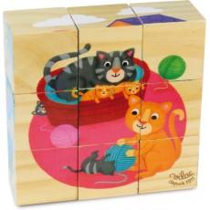 9 Cubes en bois Animaux - Vilac