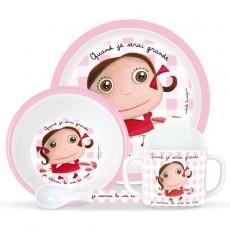 Coffret vaisselle mélamine La vie en rose - Quand je serai grand