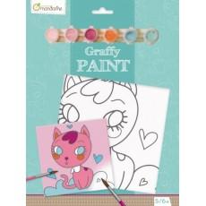 Toile à peindre Graffy Paint Chat cœur - Avenue Mandarine