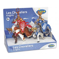 Boite présentoir de 4 figurines maitre des armes cimier cerf et belier - Papo