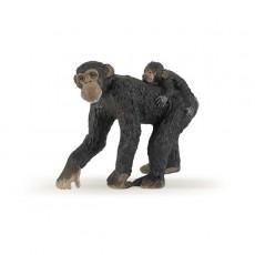 Figurine femelle chimpanze et son bébé - Papo