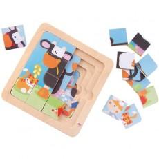 Puzzle en bois 4 en 1 Traite de la vache - Sevi