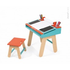 Bureau et chaise d'écolier orange et bleu - Janod