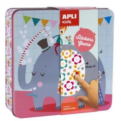 Jeu de gommettes éléphant en boîte métal - APLI