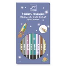 Les couleurs - 8 crayons métalliques - Djeco