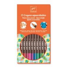 Les couleurs - 12 crayons aquarellables - Djeco