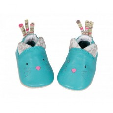 Chaussons cuir chats Les Pachats - Moulin Roty
