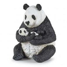 Figurine Panda assis et son bébé - Papo